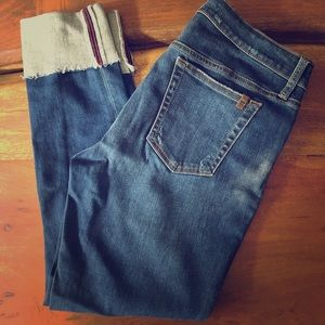 Joe's jeans cropped with a raw edge wide cuff